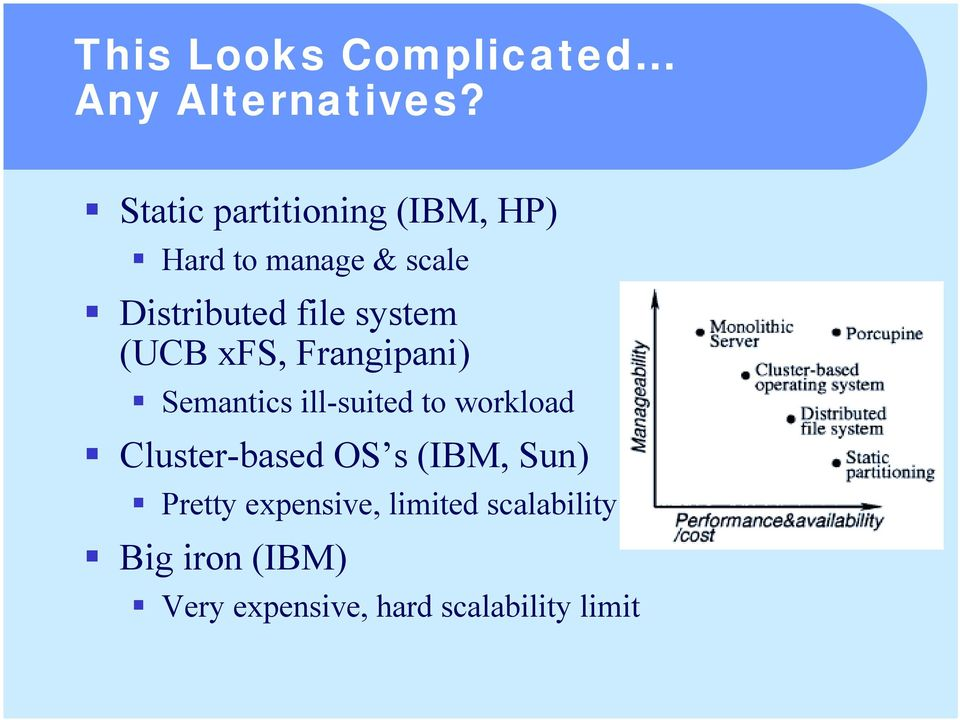 Semantics ill-suited to workload! Cluster-based OS s (IBM, Sun)!