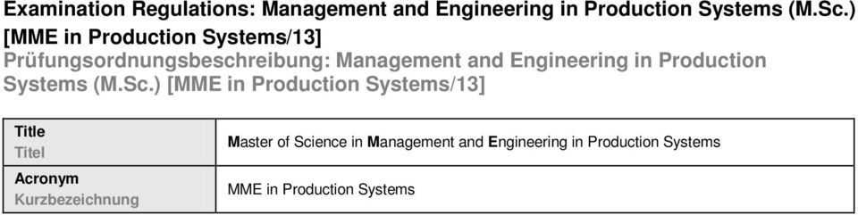 Engineering in Production Systems (M.Sc.