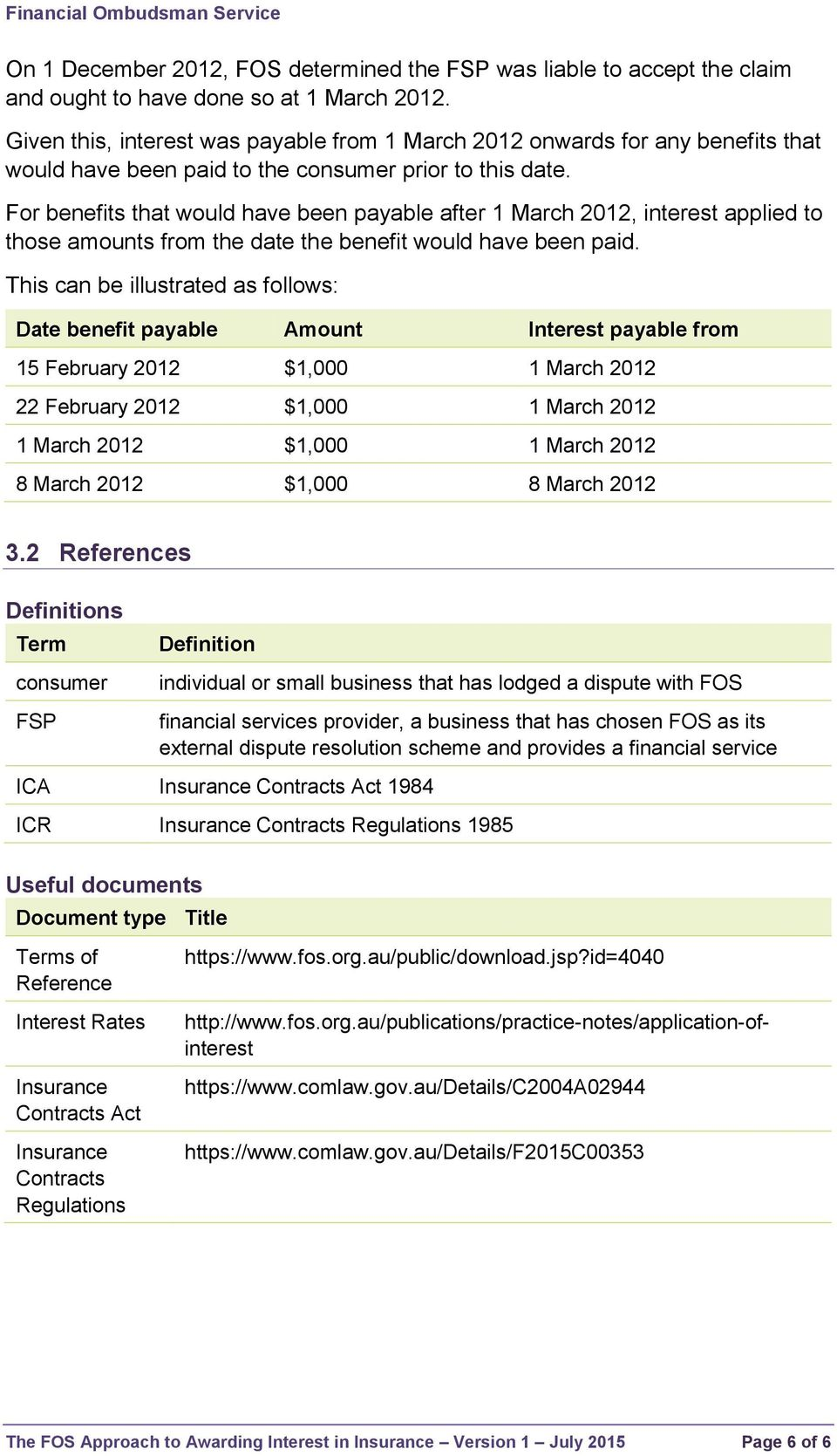 For benefits that would have been payable after 1 March 2012, interest applied to those amounts from the date the benefit would have been paid.