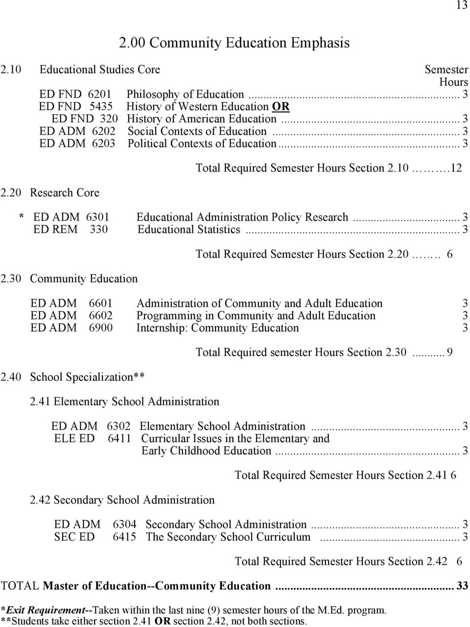 20 Research Core Total Required Semester Hours Section 2.10.12 * ED ADM 6301 Educational Administration Policy Research... 3 ED REM 330 Educational Statistics... 3 2.