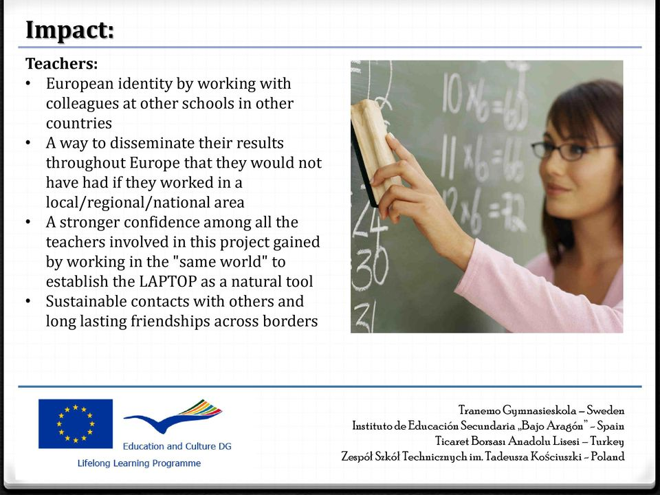 local/regional/national area A stronger confidence among all the teachers involved in this project gained by