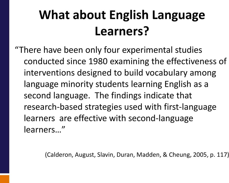 interventions designed to build vocabulary among language minority students learning English as a second