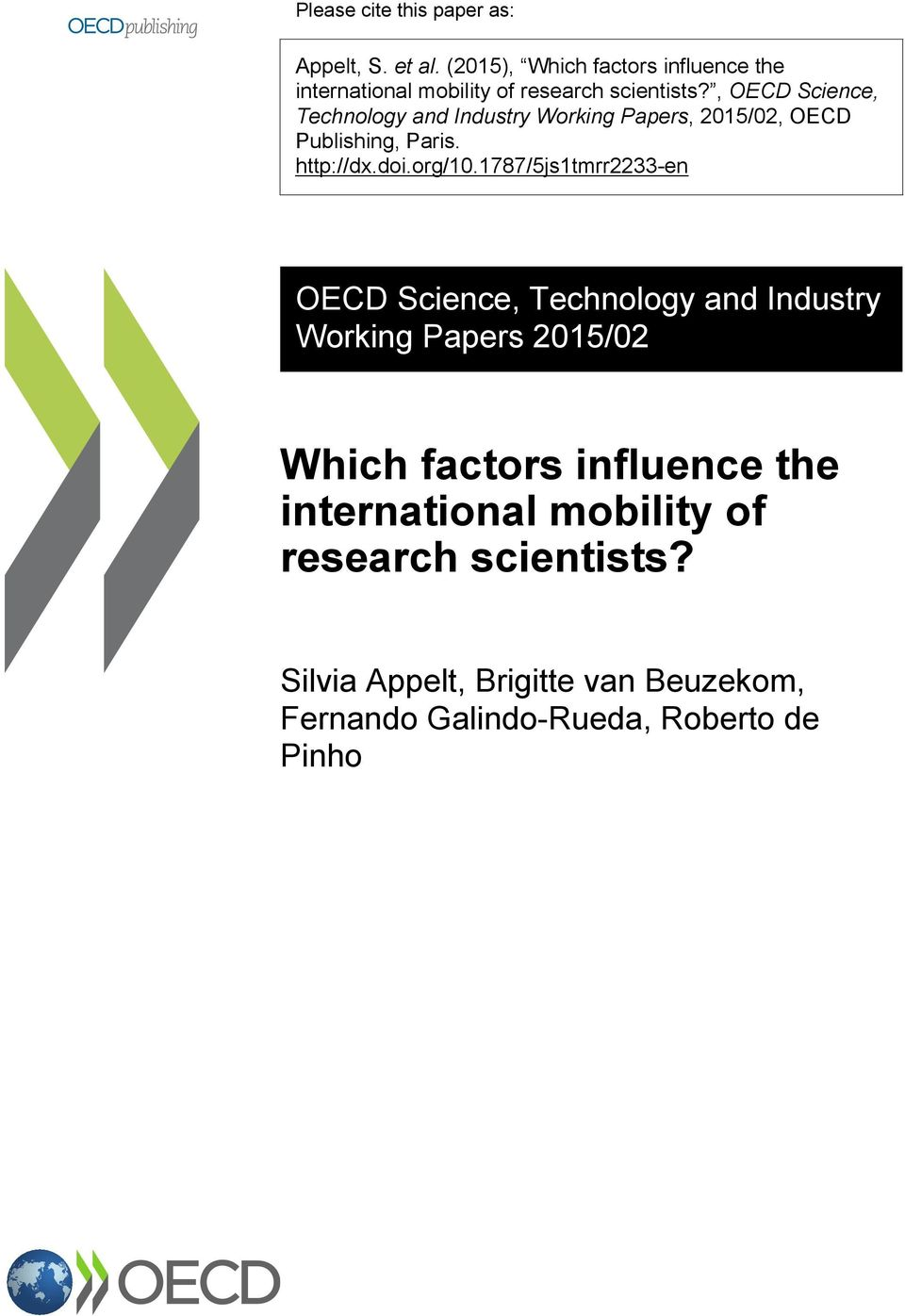 , OECD Science, Technology and Industry Working Papers, 2015/02, OECD Publishing, Paris. http://dx.doi.org/10.