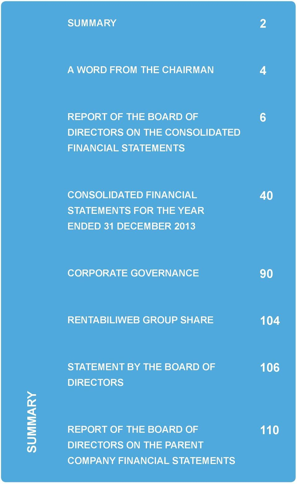 213 4 CORPORATE GOVERNANCE 9 RENTABILIWEB GROUP SHARE 14 STATEMENT BY THE BOARD OF