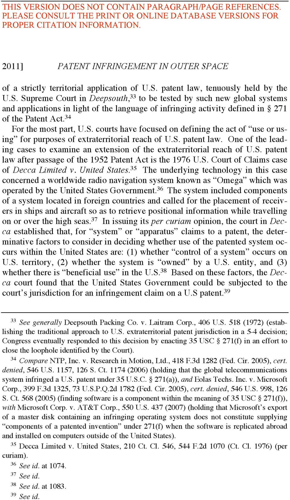 patent law, tenuously held by the U.S.