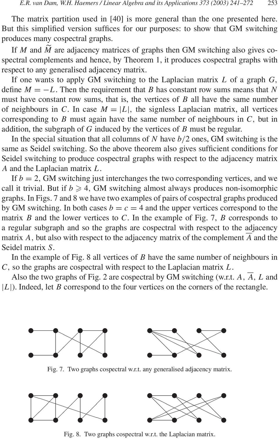 If M and M are adjacency matrices of graphs then GM switching also gives cospectral complements and hence, by Theorem 1, it produces cospectral graphs with respect to any generalised adjacency matrix.