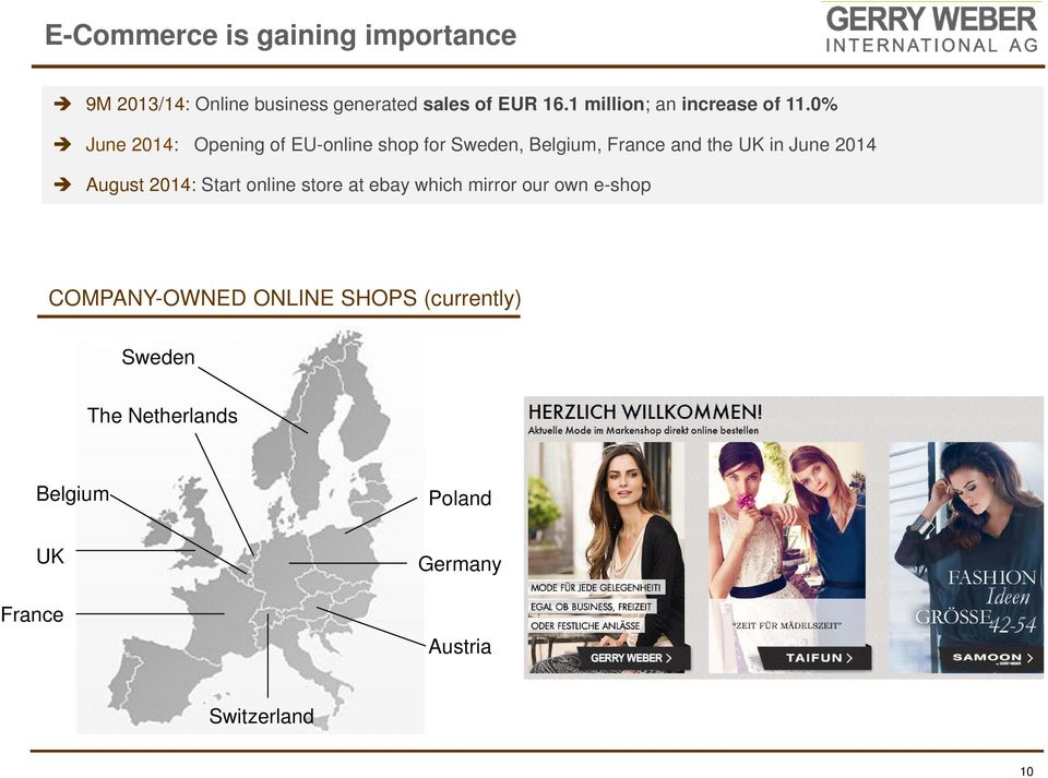 0% June : Opening of EU-online shop for Sweden, Belgium, France and the UK in June August :