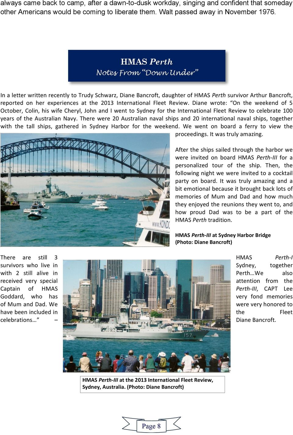 the 2013 information International on the Fleet HMAS Review.