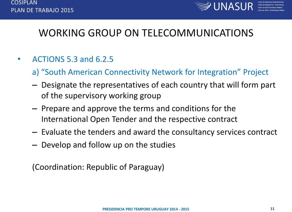 will form part of the supervisory working group Prepare and approve the terms and conditions for the International