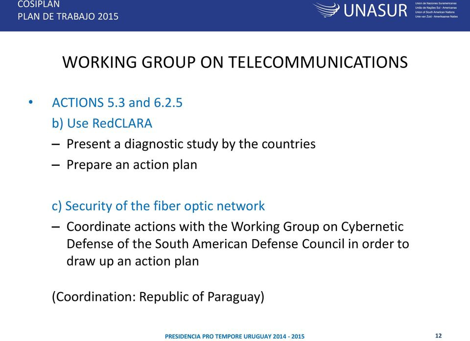 Security of the fiber optic network Coordinate actions with the Working Group on