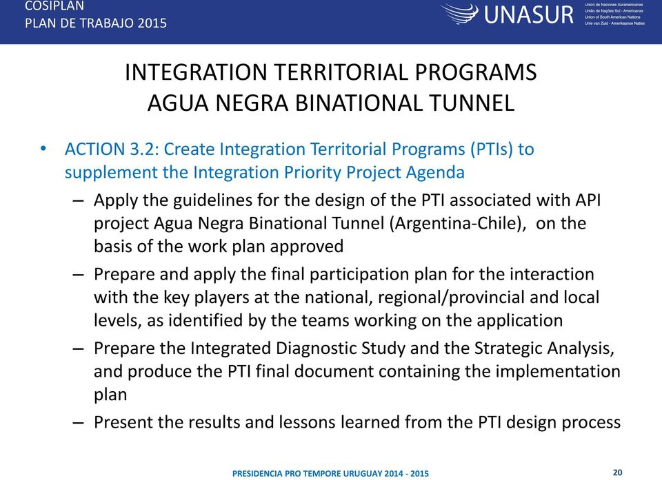 Negra Binational Tunnel (Argentina-Chile), on the basis of the work plan approved Prepare and apply the final participation plan for the interaction with the key players at the