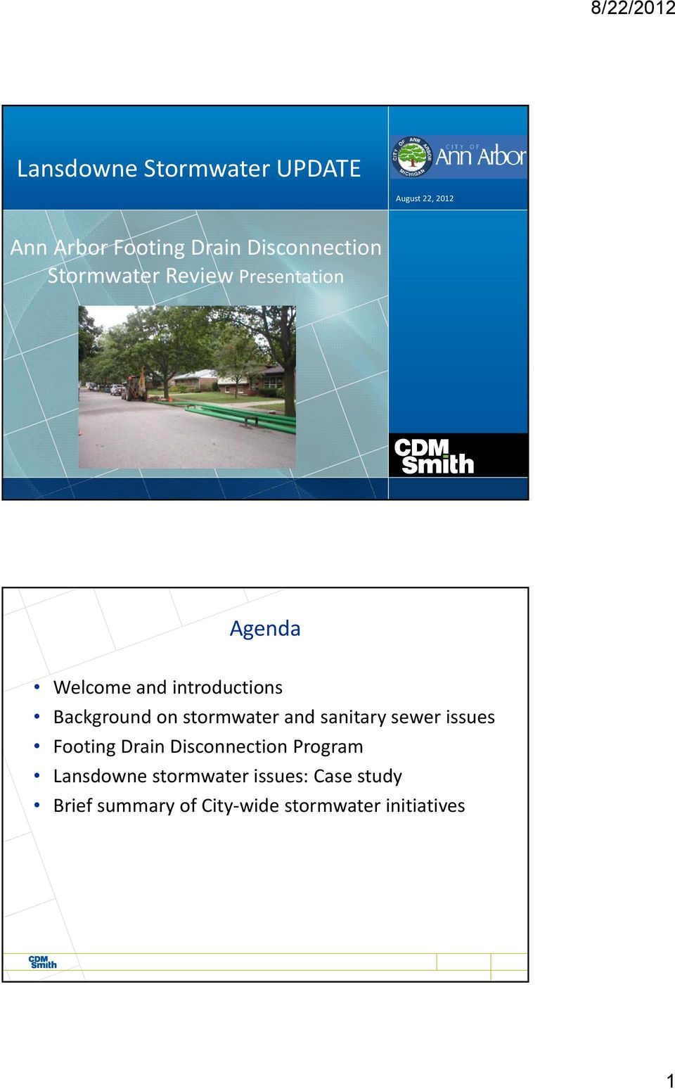 Background on stormwater and sanitary sewer issues Footing Drain Disconnection