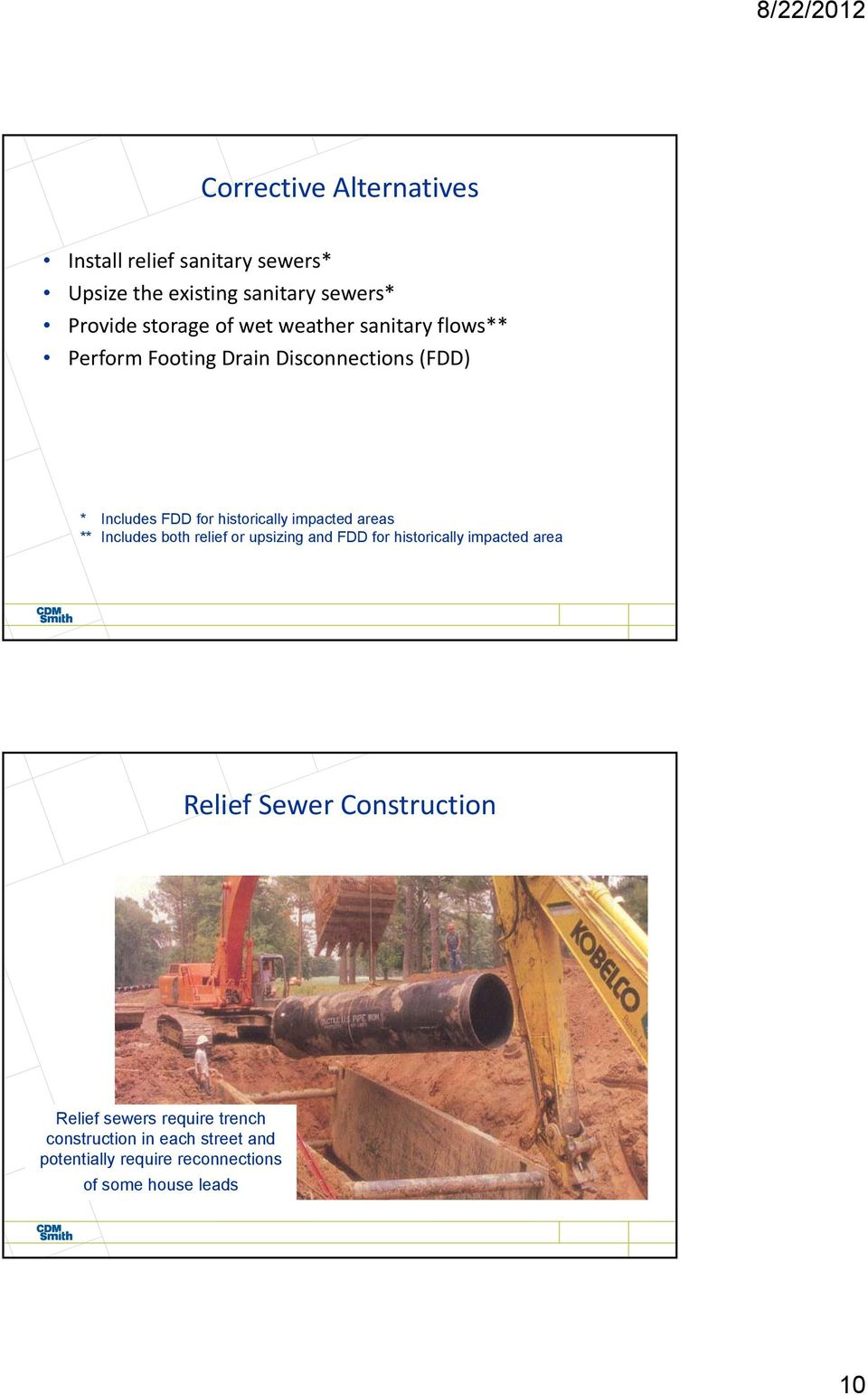 areas ** Includes both relief or upsizing and FDD for historically impacted area Relief Sewer Construction