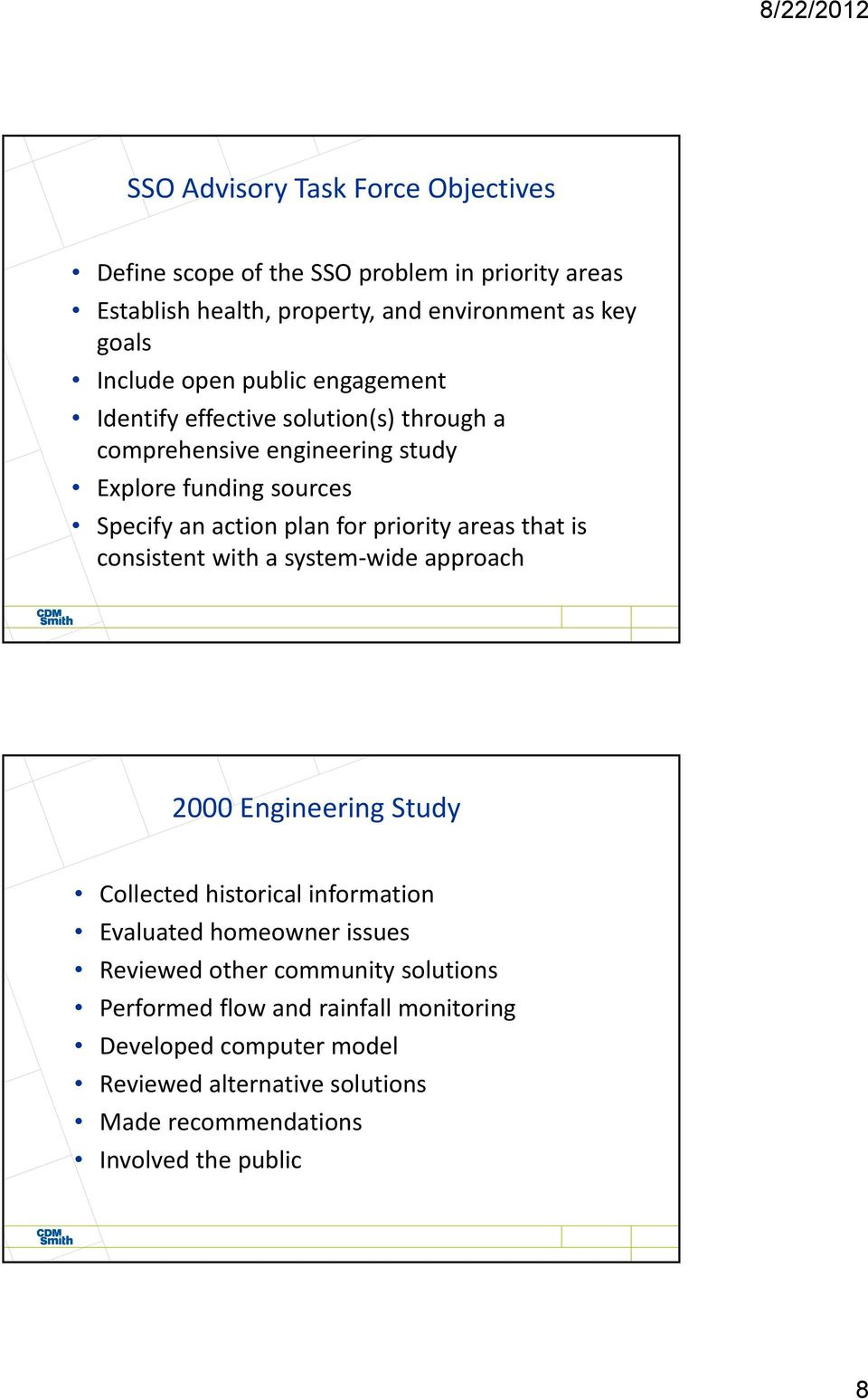 priority areas that is consistent with a system wide approach 2000 Engineering Study Collected historical information Evaluated homeowner issues Reviewed