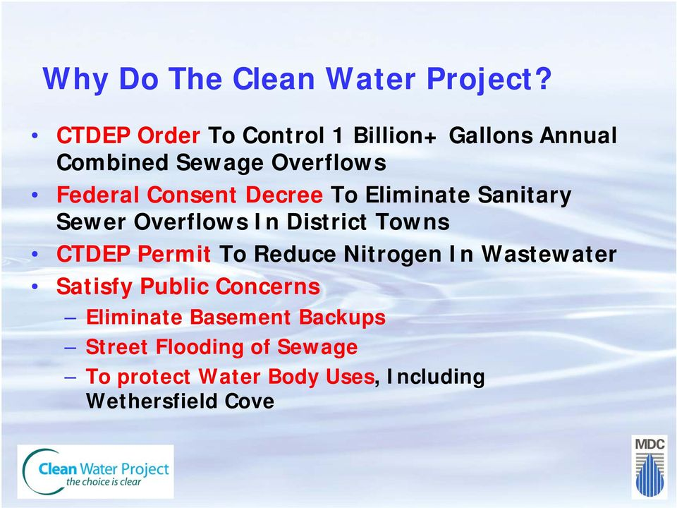 Decree To Eliminate Sanitary Sewer Overflows In District Towns CTDEP Permit To Reduce