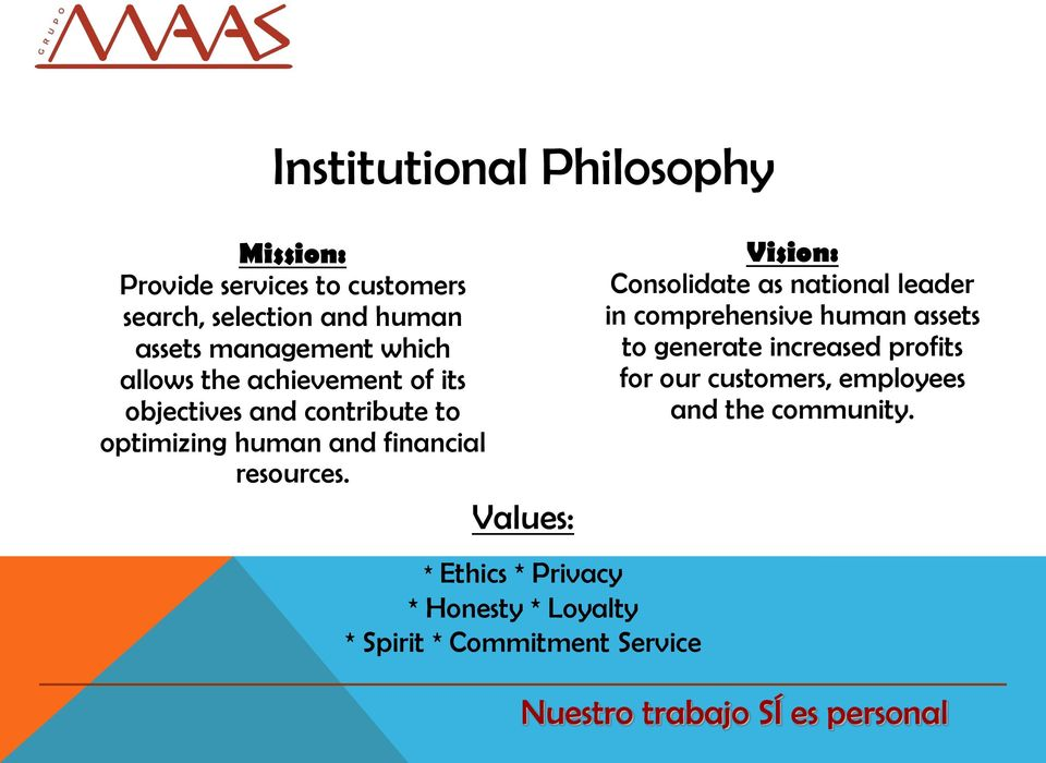 Values: * Ethics * Privacy * Honesty * Loyalty * Spirit * Commitment Service Vision: Consolidate as national