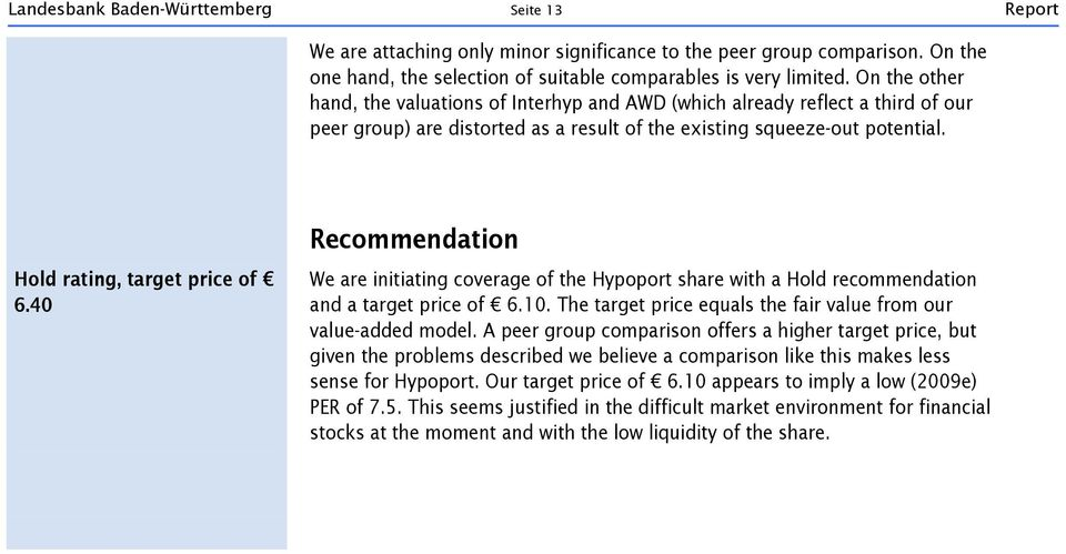 40 Recommendation We are initiating coverage of the Hypoport share with a Hold recommendation and a target price of 6.10. The target price equals the fair value from our value-added model.