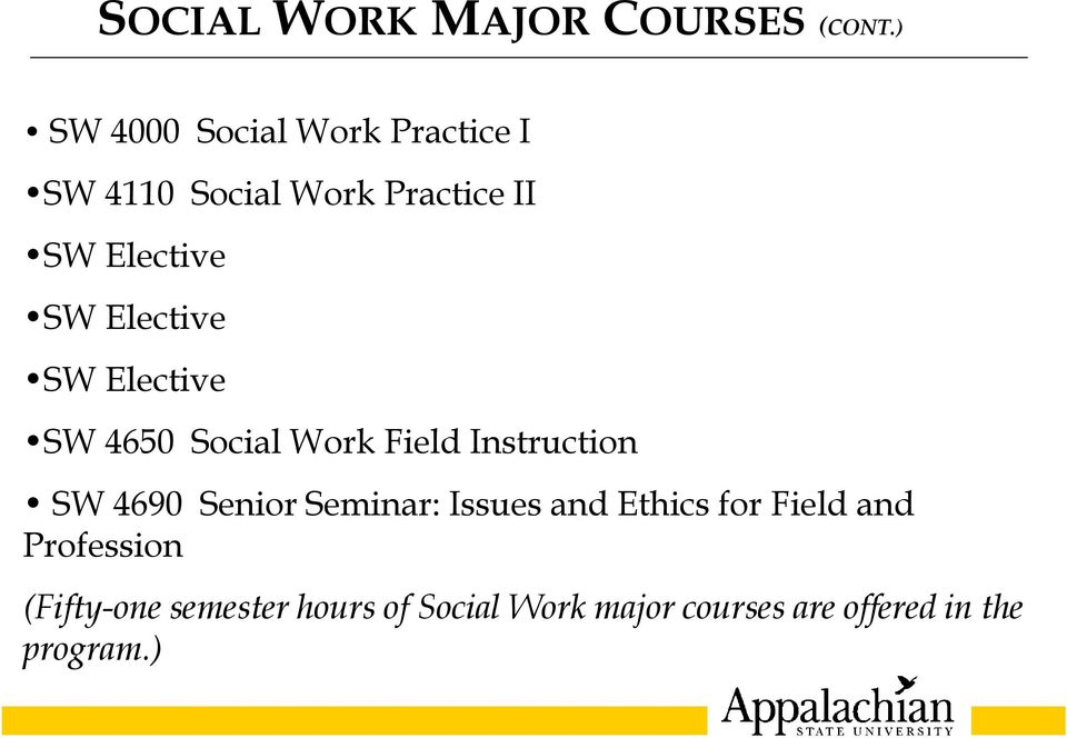 Elective SW Elective SW 4650 Social Work Field Instruction SW 4690 Senior
