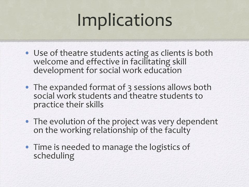 work students and theatre students to practice their skills The evolution of the project was very