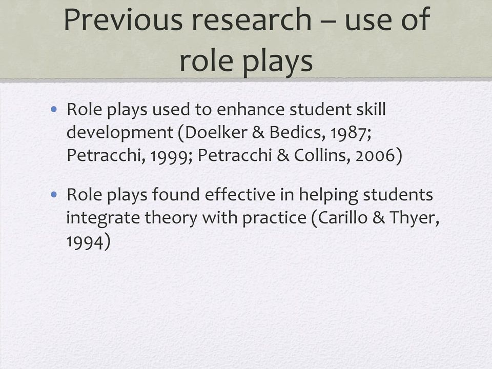 1999; Petracchi & Collins, 2006) Role plays found effective in