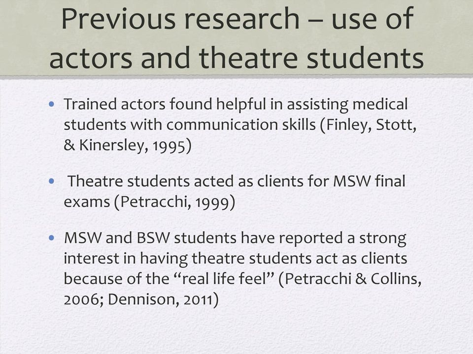 for MSW final exams (Petracchi, 1999) MSW and BSW students have reported a strong interest in having