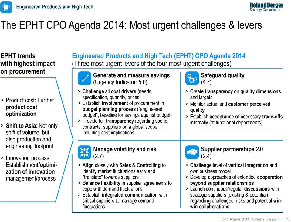 (EPHT) CPO Agenda 2014 (Three most urgent levers of the four most urgent challenges) Generate and measure savings (Urgency Indicator: 5.