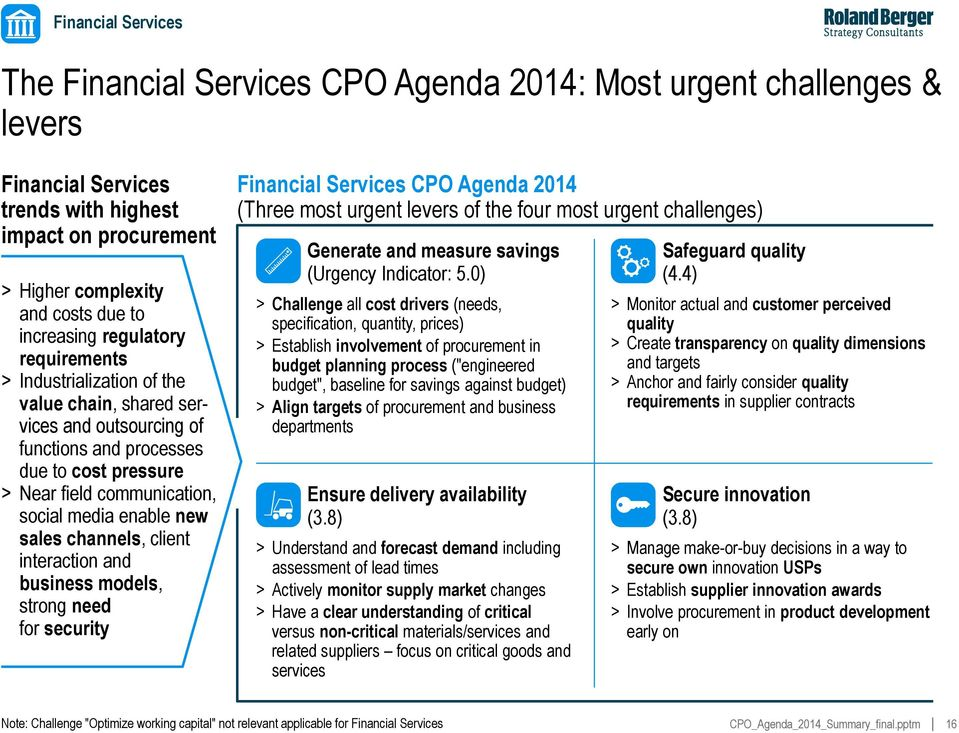 sales channels, client interaction and business models, strong need for security Financial Services CPO Agenda 2014 (Three most urgent levers of the four most urgent challenges) Generate and measure