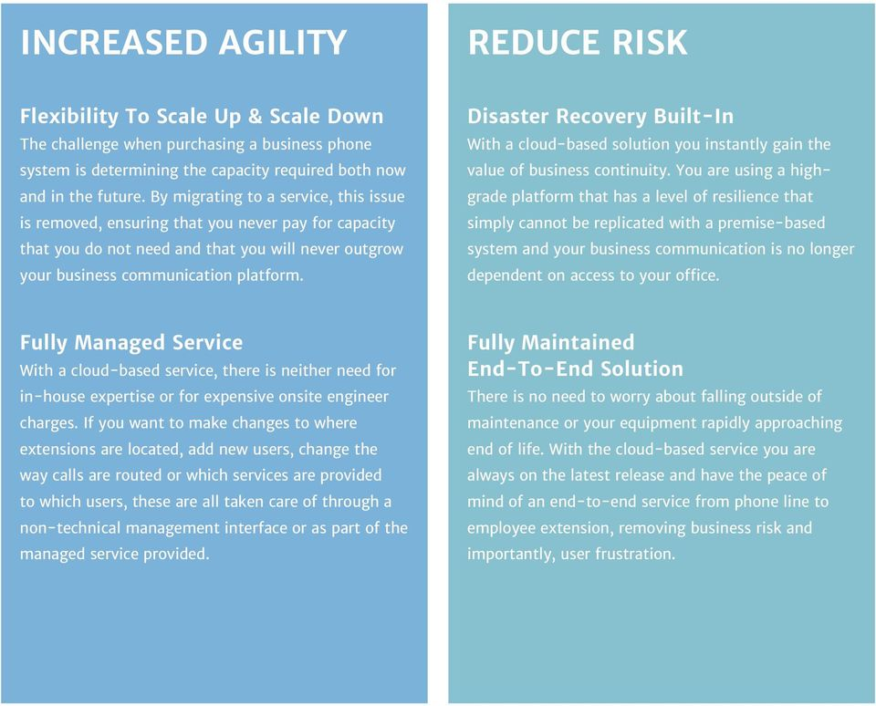 Disaster Recovery Built-In With a cloud-based solution you instantly gain the value of business continuity.