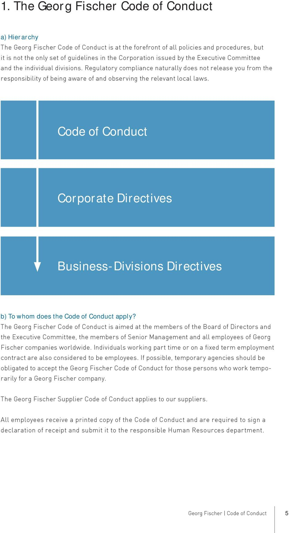 Code of Conduct Corporate Directives Business-Divisions Directives b) To whom does the Code of Conduct apply?