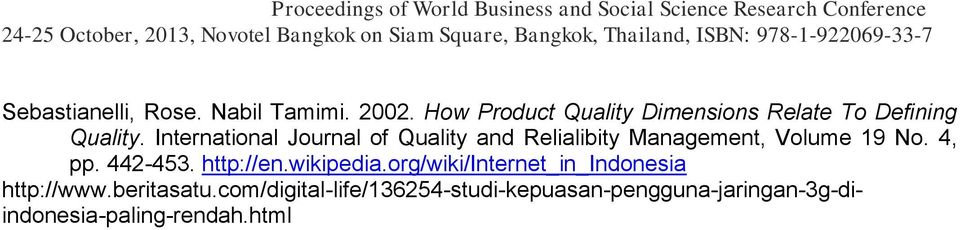 International Journal of Quality and Relialibity Management, Volume 19 No. 4, pp.