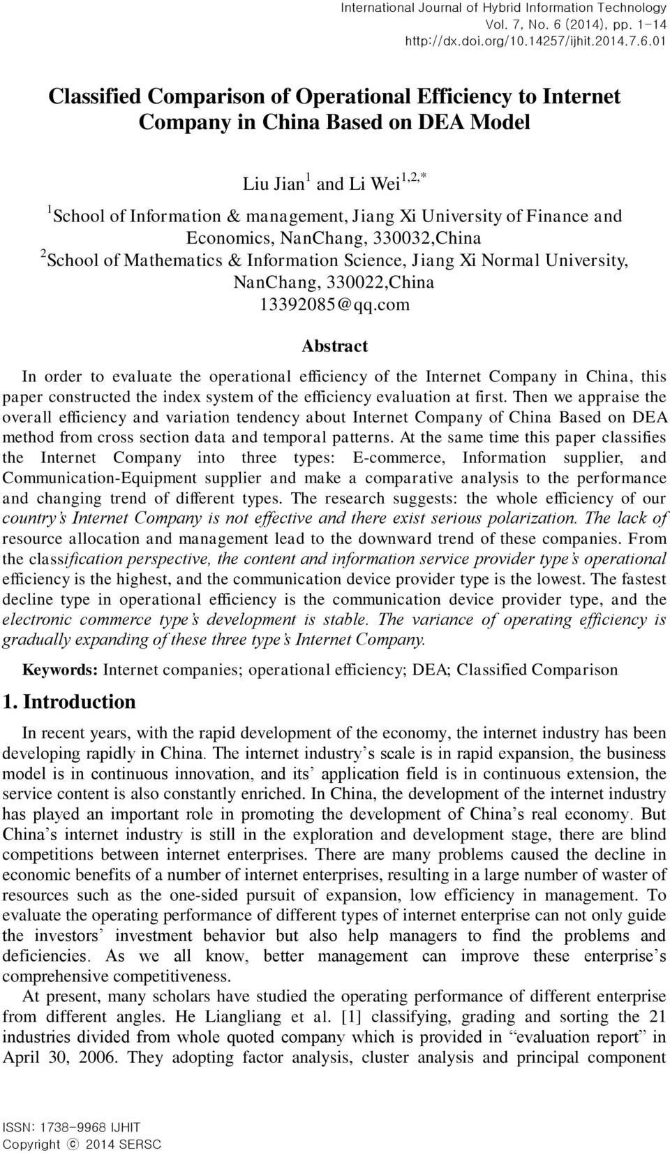 Economics, NanChang, 330032,China 2 School of Mathematics & Information Science, Jiang Xi Normal University, NanChang, 330022,China 13392085@qq.