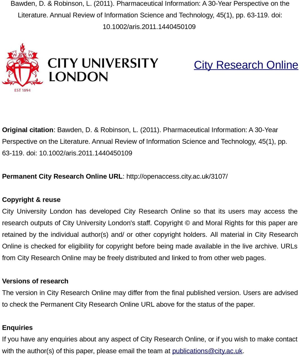 city.ac.uk/3107/ Copyright & reuse City University London has developed City Research Online so that its users may access the research outputs of City University London's staff.