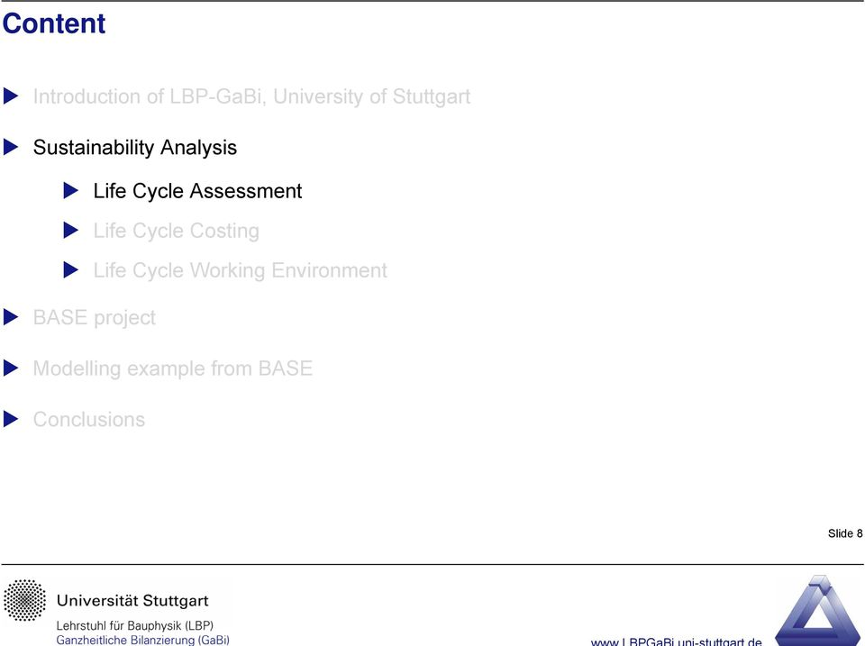Assessment Life Cycle Costing Life Cycle Working