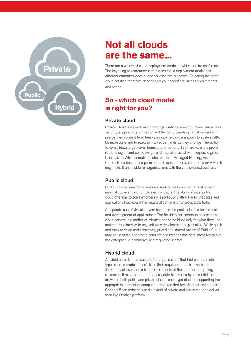 Selecting the right cloud solution therefore depends on your specific business requirements and needs. So - which cloud model is right for you?
