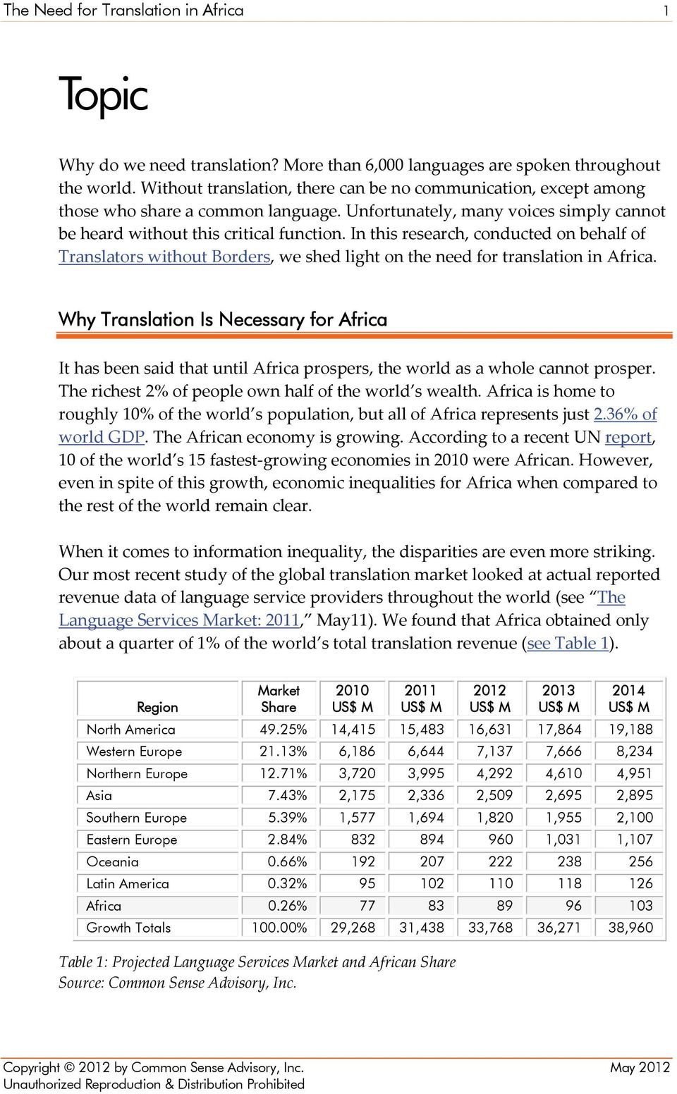 In this research, conducted on behalf of Translators without Borders, we shed light on the need for translation in Africa.