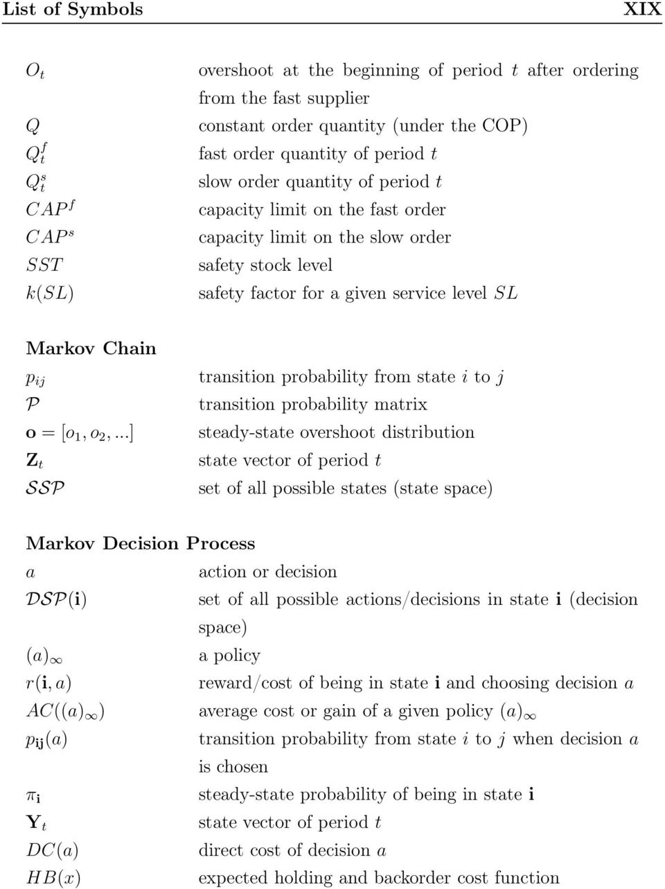 o 2,...] Z t SSP transition probability from state i to j transition probability matrix steady-state overshoot distribution state vector of period t set of all possible states (state space) Markov