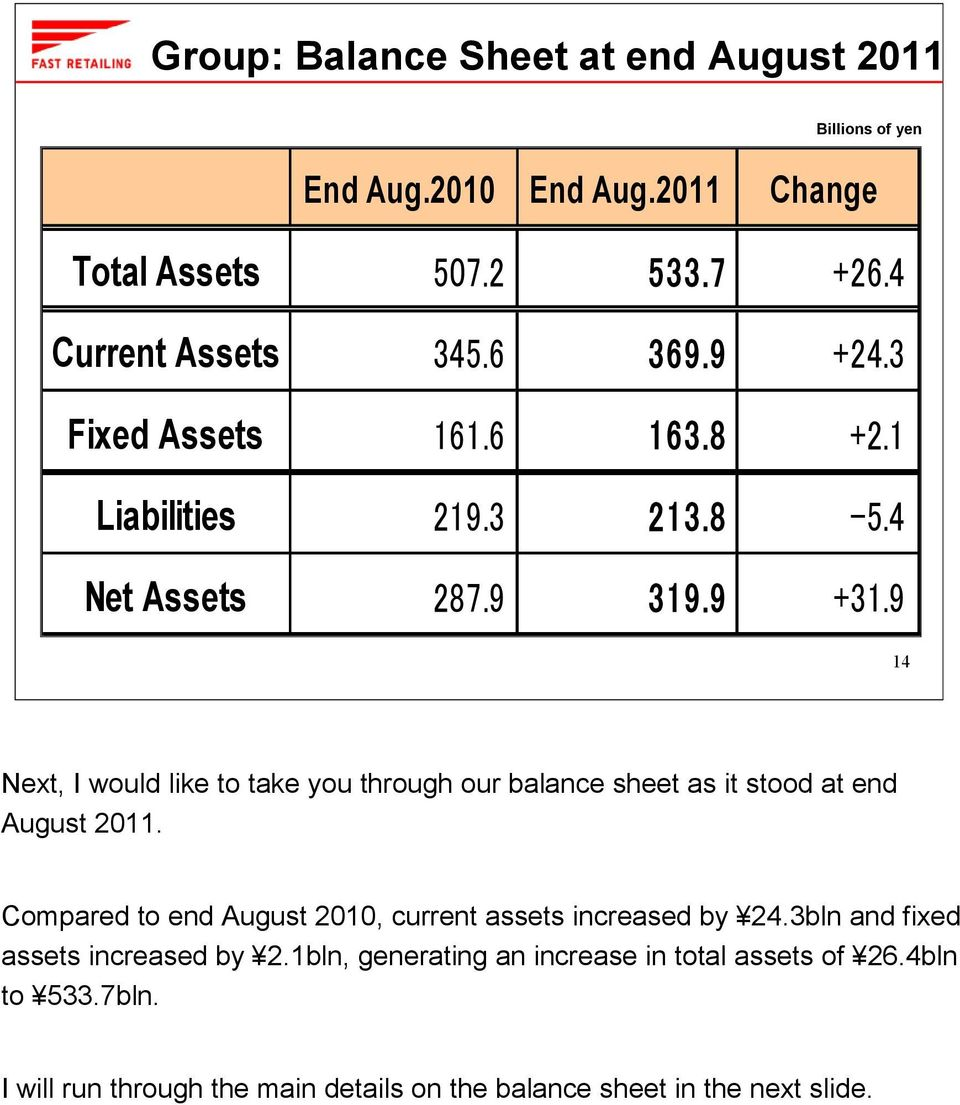 9 14 Next, I would like to take you through our balance sheet as it stood at end August 2011.