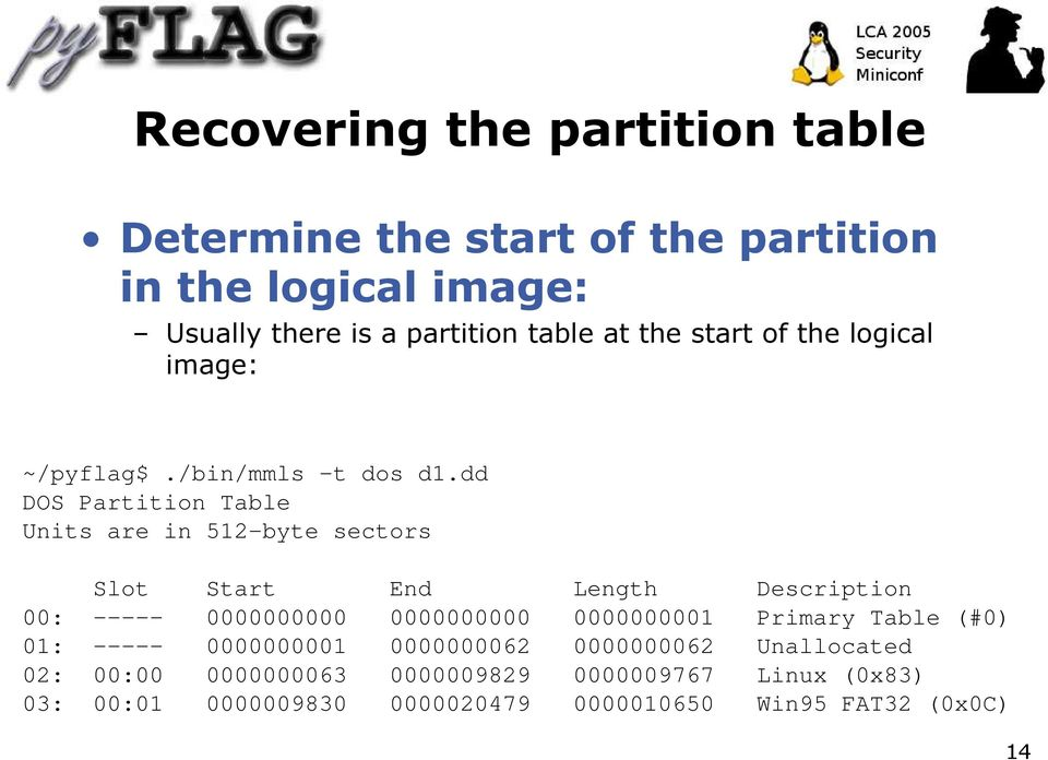 dd DOS Partition Table Units are in 512-byte sectors Slot Start End Length Description 00: ----- 0000000000 0000000000