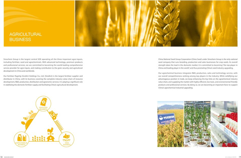 grain security and agricultural development in China and worldwide. Our fertilizer flagship Sinofert Holdings Co., Ltd.