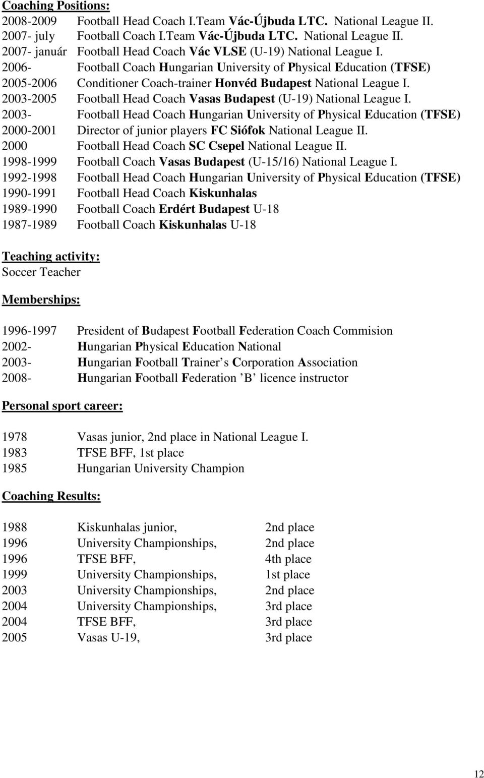 2003-2005 Football Head Coach Vasas Budapest (U-19) National League I.