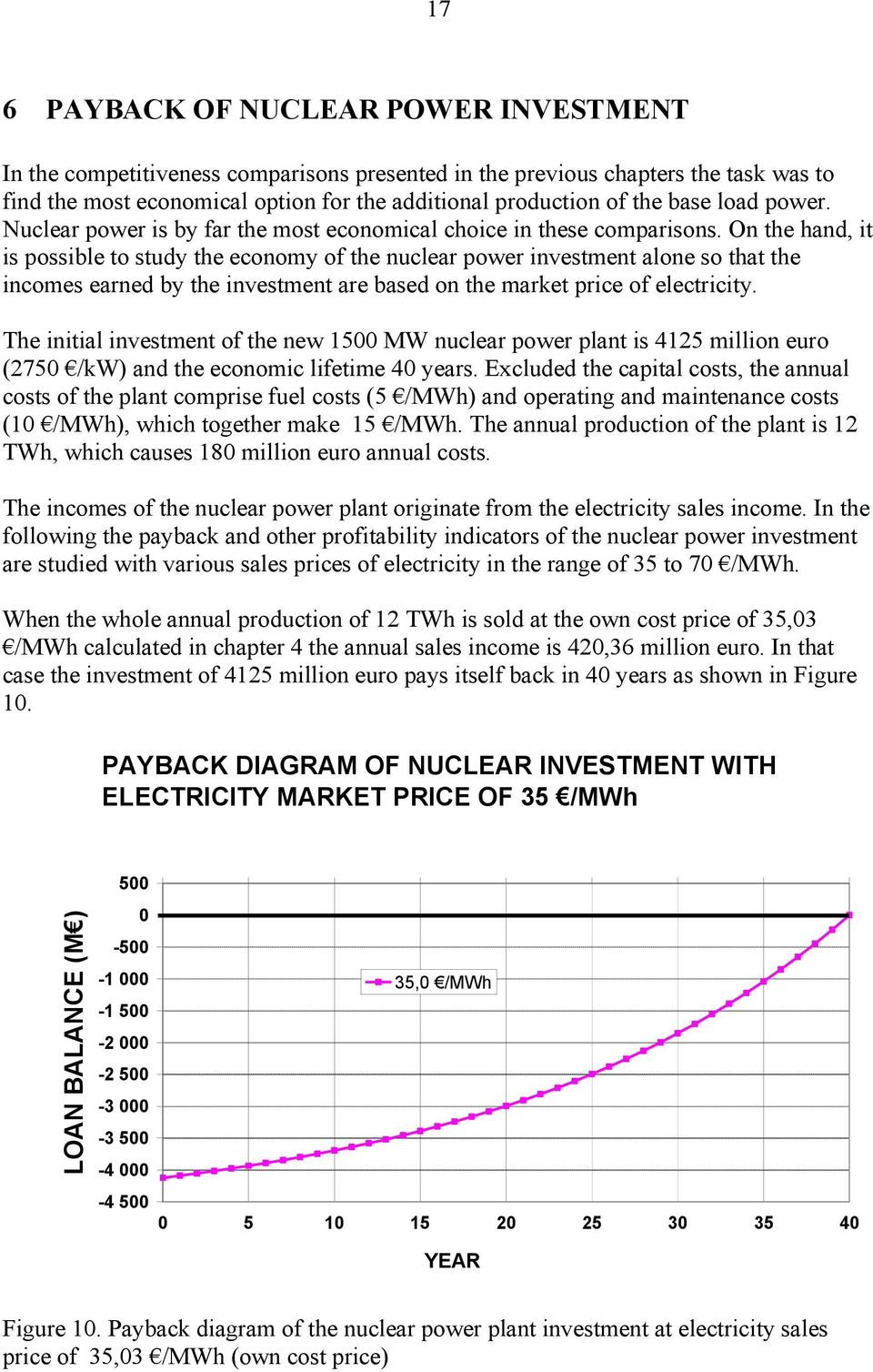 On the hand, it is possible to study the economy of the nuclear power investment alone so that the incomes earned by the investment are based on the market price of electricity.