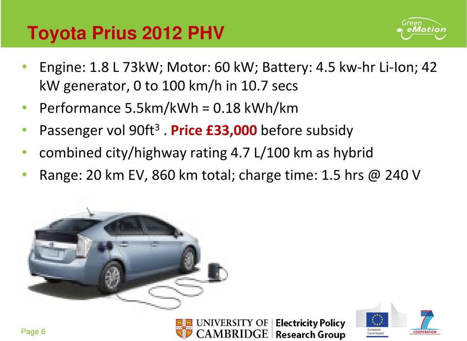 18 kwh/km Passenger vol 90ft 3. Price 33,000 before subsidy combined city/highway rating 4.