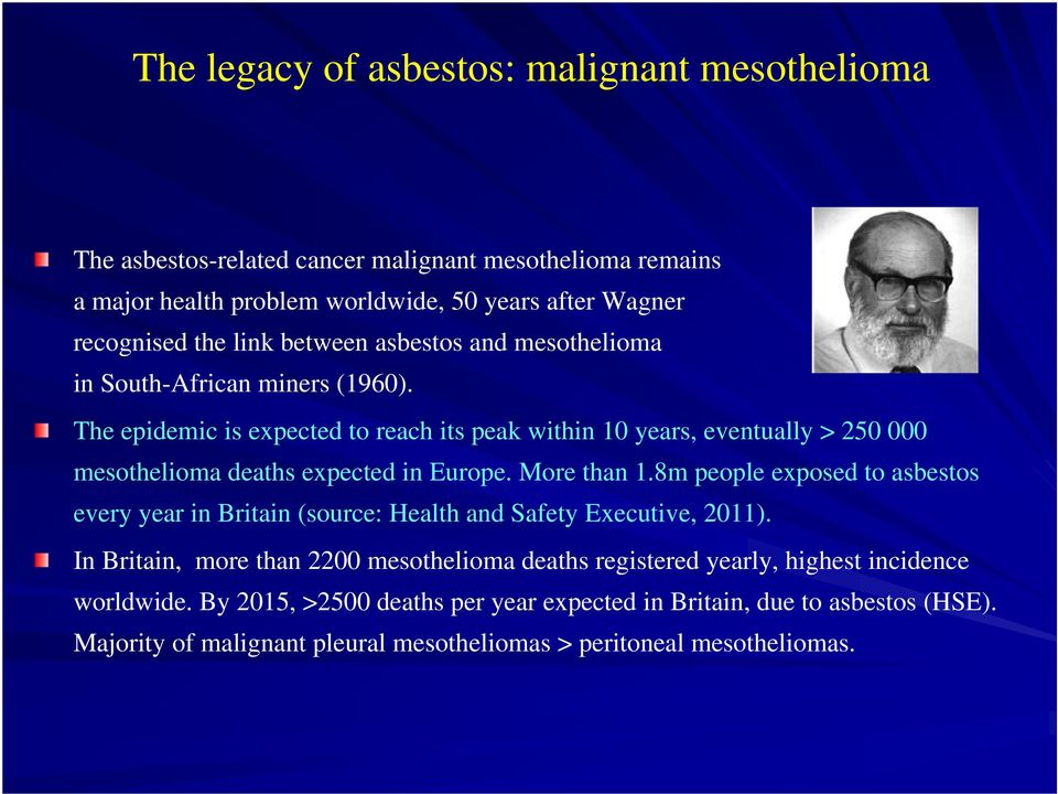 The epidemic is expected to reach its peak within 10 years, eventually > 250 000 mesothelioma deaths expected in Europe. More than 1.