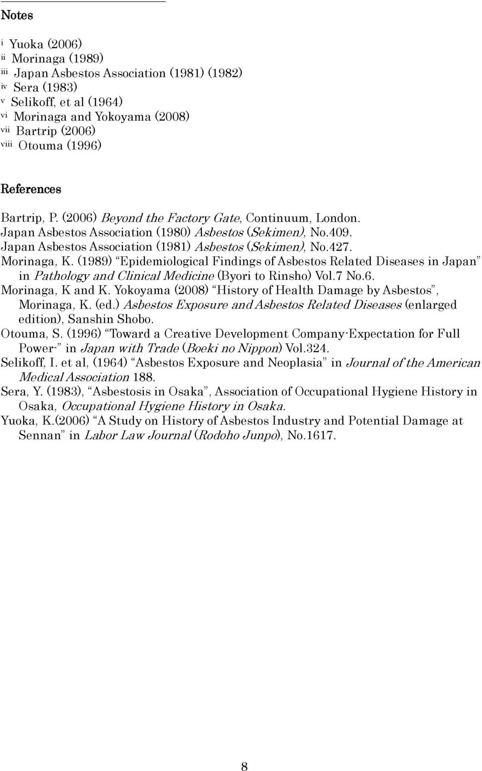 Morinaga, K. (1989) Epidemiological Findings of Asbestos Related Diseases in Japan in Pathology and Clinical Medicine (Byori to Rinsho) Vol.7 No.6. Morinaga, K and K.