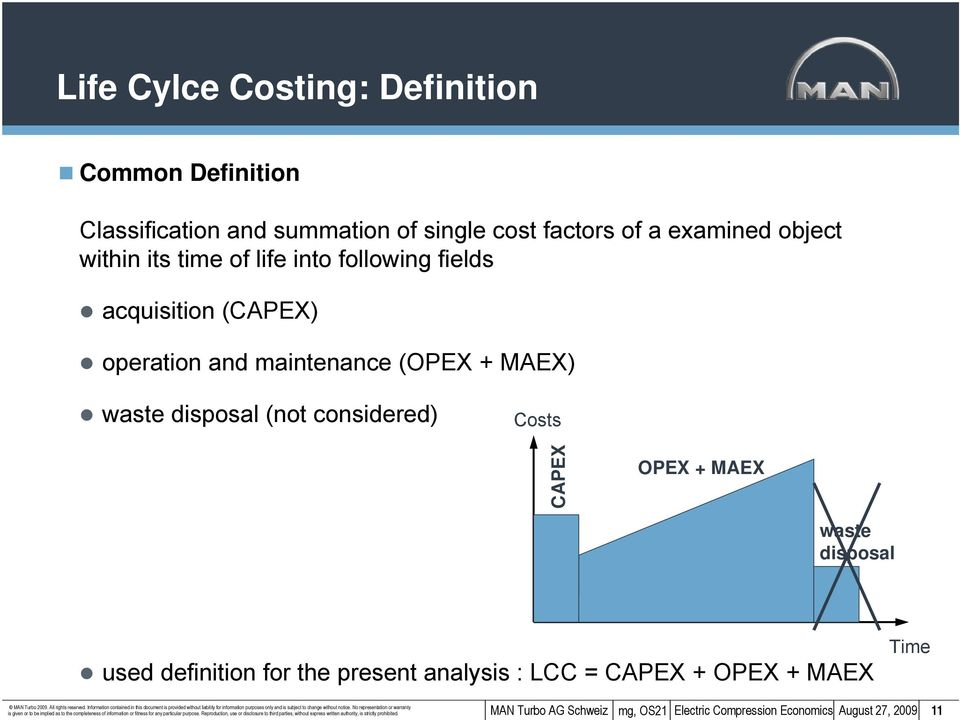 present analysis : LCC = CAPEX + OPEX + MAEX Time is given or to be implied as to the completeness of information or fitness for any particular purpose.