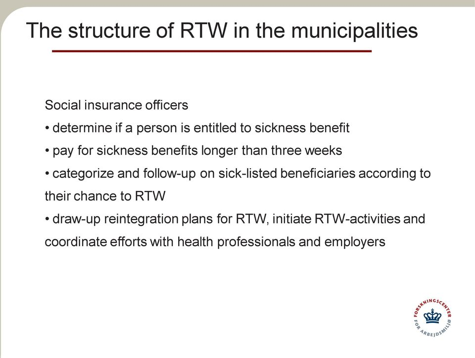 follow-up on sick-listed beneficiaries according to their chance to RTW draw-up reintegration