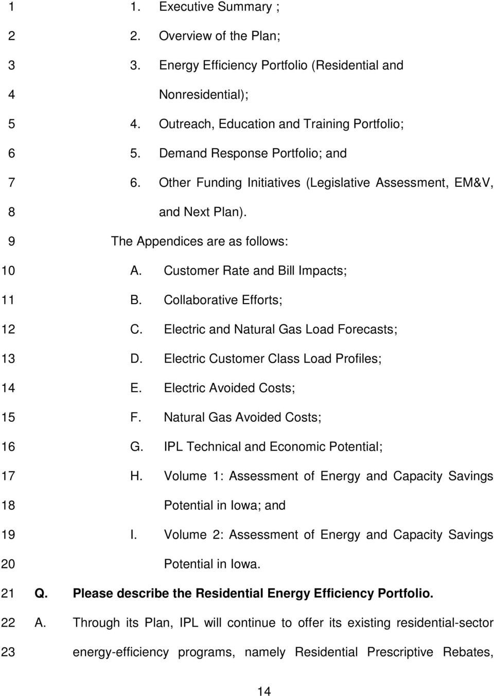 Electric and Natural Gas Load Forecasts; D. Electric Customer Class Load Profiles; E. Electric Avoided Costs; F. Natural Gas Avoided Costs; G. IPL Technical and Economic Potential; H.