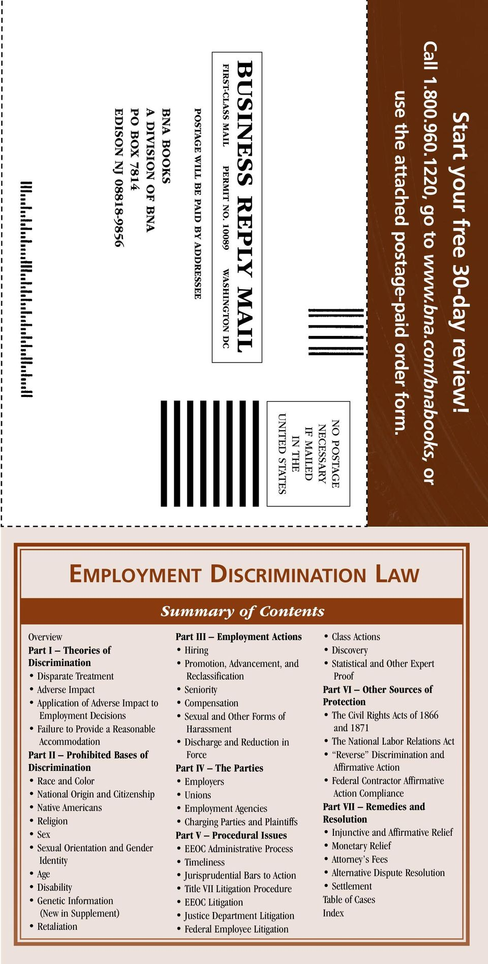 10089 WASHINGTON DC Postage will be paid by addressee BNA Books A division of BNA po box 7814 edison NJ 08818-9856 Employment Discrimination Law Summary of Contents Overview Part I Theories of