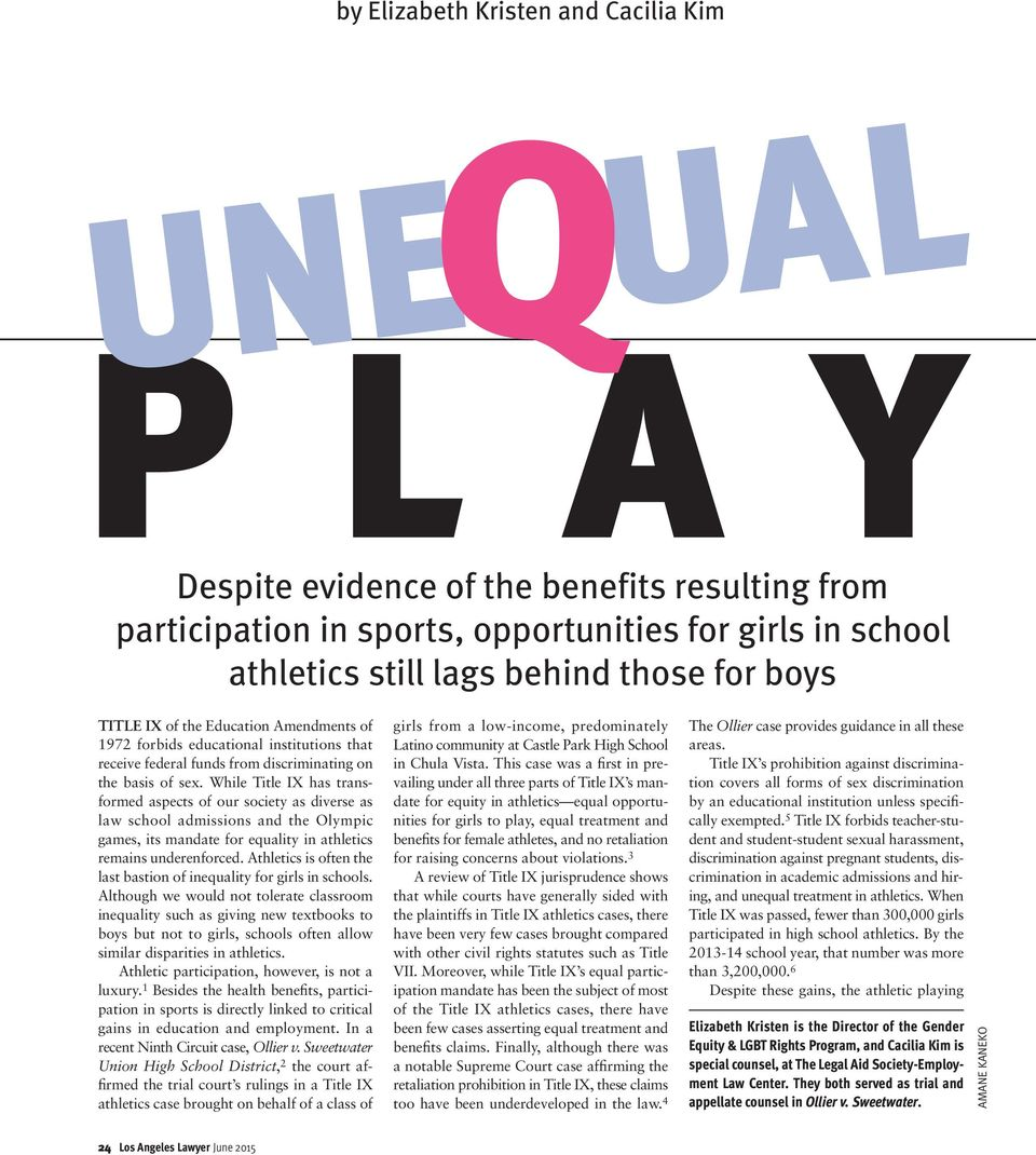 While Title IX has transformed aspects of our society as diverse as law school admissions and the Olympic games, its mandate for equality in athletics remains underenforced.