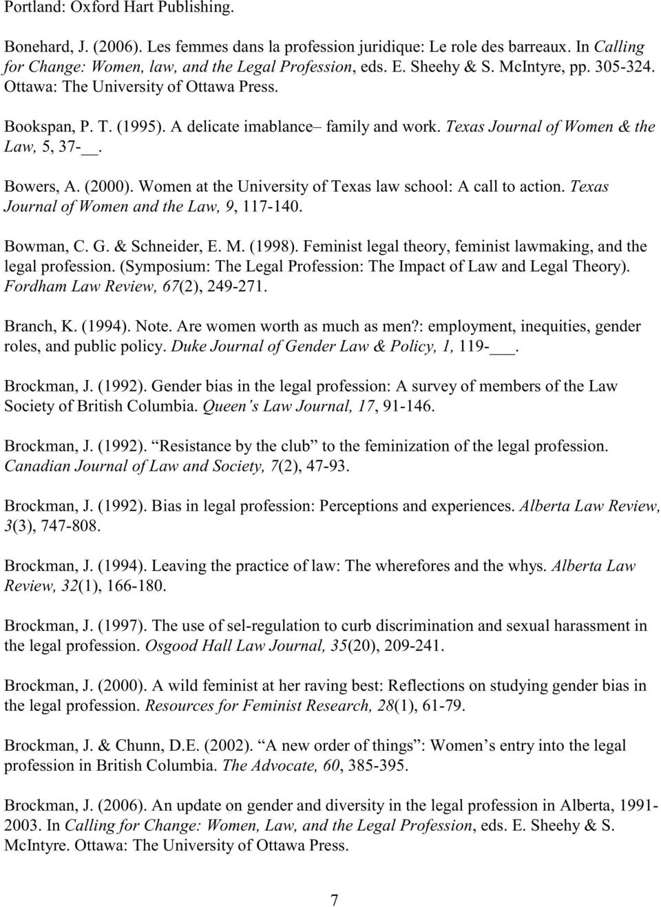Women at the University of Texas law school: A call to action. Texas Journal of Women and the Law, 9, 117-140. Bowman, C. G. & Schneider, E. M. (1998).